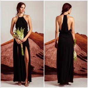 Stone Cold Fox Onyx Halter Gown Black Size 1